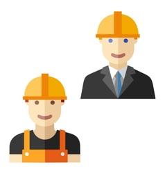 worker construction flat avatar set vector image