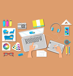 Workspace in architectural office vector