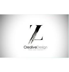 Z brush stroke letter logo design black paint vector