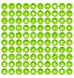 100 summer holidays icons set green vector image vector image