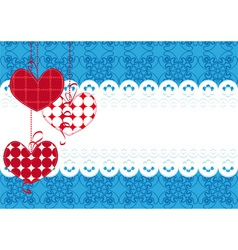background with hearts and lace vector image vector image