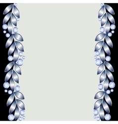 Background with silver leaves vector image