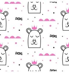 Bear princess line fun seamless pattern for kids vector image