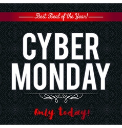 Cyber Monday sale banner on black background vector image vector image