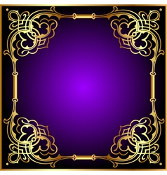 frame with vegetable and golden pattern vector image vector image
