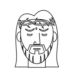 jesus christ crown of thorns outline vector image