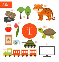 Letter T Cartoon alphabet for children Tiger vector image vector image