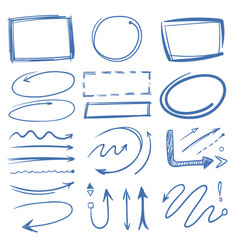 marker circles pointing arrows frames doodle vector image
