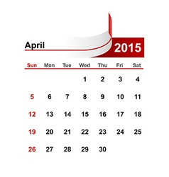 simple calendar 2015 year april month vector image