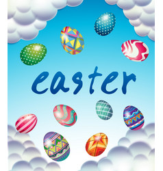easter card template with eggs in blue sky vector image vector image