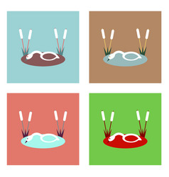 flat icon design collection swan in the reeds vector image vector image