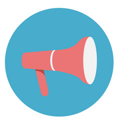 megaphone or loudspeaker icon on round blue vector image