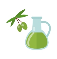 Olive oil and branch vector image