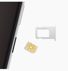 small nano sim card sim card tray for smartphone vector image