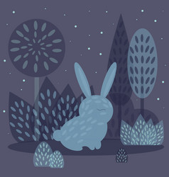 winter rabbit in flat style vector image vector image