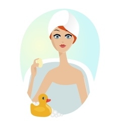 woman taking a relaxing bath with rubber duck vector image vector image