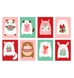 birthday banners with cute animals vector image