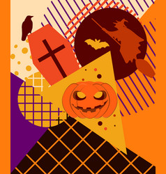 halloween memphis college festive background with vector image vector image