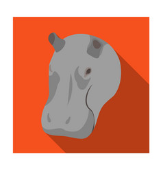 Hippopotamus icon in flat style isolated on white vector