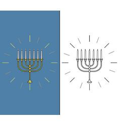 jewish candle stick vector image