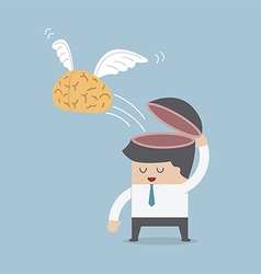 The brain is flying out of the businessman head vector image vector image