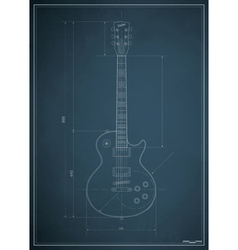 electric guitar blueprint vector image vector image