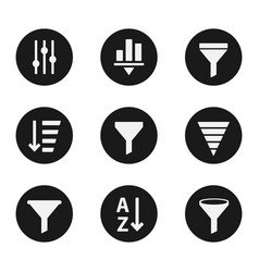filter objects icons industry set vector image vector image
