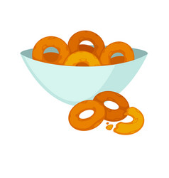 round crispy bagels in deep plate isolated on vector image vector image