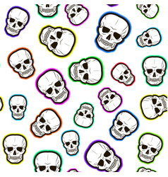 seamless pattern of colored skulls vector image