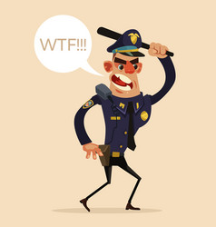 angry screaming policeman character vector image
