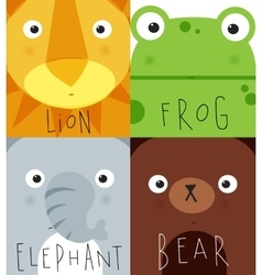 Animal muzzles lion frog elephant bear vector