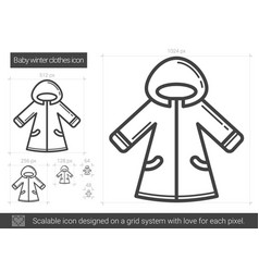 Baby winter clothes line icon vector