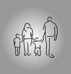 Back of four people family holding hand vector