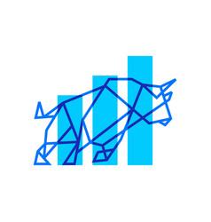 bar chart bull geometric logo icon vector image