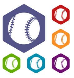 baseball icons hexahedron vector image
