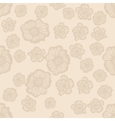 Beige and light brown seamless flower pattern vector image