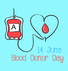 Blue background blood donor day collection vector