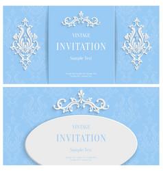 blue floral 3d background template vector image
