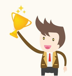 Businessman holding trophy success concept vector