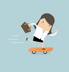 businesswoman on skateboard with briefcase vector image