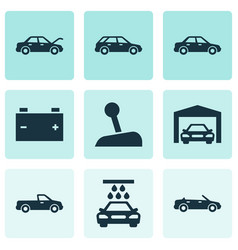 Car icons set collection of hatchback carriage vector