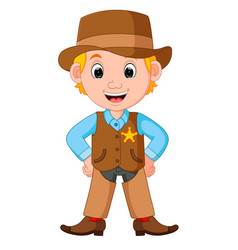 cartoon cowboy with a gun vector image