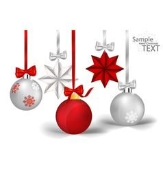 Christmas decorations with ribbon and bow vector