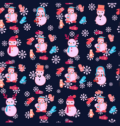 Christmas seamless pattern with cute snowmen and vector