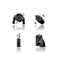 Clubbing drop shadow black glyph icons set night vector