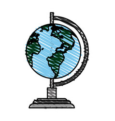 Color crayon stripe image cartoon earth globe vector