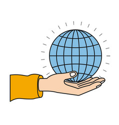 Colorful silhouette hand palm giving a globe chart vector