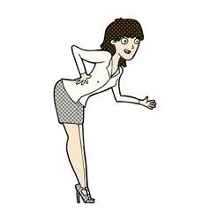 Comic cartoon businesswoman explaining vector