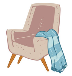 Cozy armchair with warm knitted plaid or blanket vector