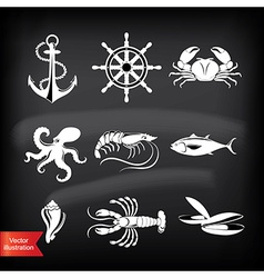 Crab lobster fish octopus set seafood icons vector